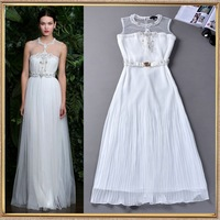 2014 Summer fashion women's high quality beaded chiffon white solid color long dress