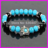 Free ship! Fashion Charm Bead Bracelets New Design 8mm Natural Turquoise Beads Hamsa Fatima Hand Bracelets Stretch 10pcs/lot