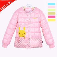 kids Girls down coats 4-7yrs babys fashion Cartoon rabbit style child down jacket full Sleeve Cute style 7102