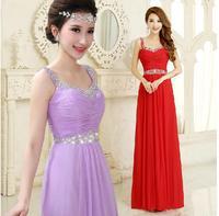 Fashionable purple Long Evening dress party evening elegant Red Chiffon prom dresses 2014 vestido de festa robe de soiree E82