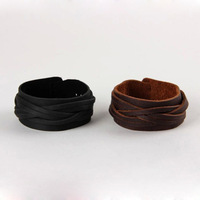 Hot Sale Fashion Black Wide Braided Real Leather Bracelets For Couples LB-HF030
