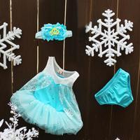 Wholesale Children Clothing Set Baby Girl's Set Blue Tutu Dress+Underwear+Headband 3pcs Baby Set Child Summer Clothes