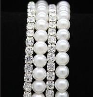 2014 Latest Retail Elegant Pearl 6 Row Wedding Bridal Crystal Rhinestone Bracelet Bangle
