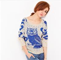 2014 New Spring Winter Fashion Women Sweaters Hollow 3D Crochet Cartoon Owl Loose Pullover Women's Knitwear   5610