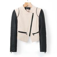 2014 New Women  Coat Patchwork PU Leather  Long Sleeve Zipper Slim Jacket Ladies blazer