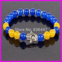 Free ship! 10pcs Nature 8mm Blue Yellow Smooth Crystal Agate beads bracelet Hamsa Hand Stretch Bracelet