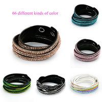 women Bracelet 2014 New Fashion punk Aliexpress hot rhinestones crystal 6 Layer Leather Bracelets for women jewelry W6B3