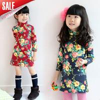 New Arrival5cs/lot 2014 Autumn Girls floral Printed turtleneck T-shirt girls long sleeve cotton blouse Children fashion tops