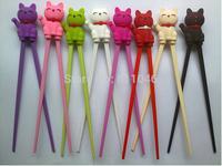 20pairs/lot Plutus cat  Beginner Cartoon Style Easy Fun Learning  Helper Chopsticks Random Color free shipping