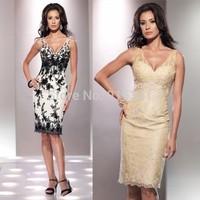 Glamorous V Neck White and Black Knee Length Sleeveless Appliques Cocktail Mother Dresses for Weddings 2014