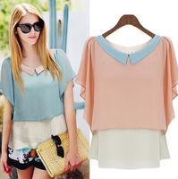 [R-433]  2014 summer new sweet blouses hit color peterpan collar loose chiffon blouse small Feifei sleeve shirt chiffon shirt