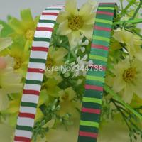 "3/8"" Stripe Ribbon Printed Grosgrain Ribbons for Gift Box Xmas Decoration"