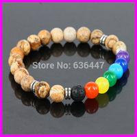 Free ship! Fashion 8mm Nature Picture Jasper Stone beads Bracelet With Mix Color Crystal Agate Bead Bracelet Stretch 10pcs/lot