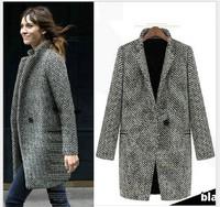 2014 autumn winter new European and American long winter coat women houndstooth stripes polka dot cashmere jackets woollen coats