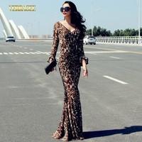 2014 vintage leopard print lace dress flare sleeve deep V-neck slim hip mopping the floor party dress plus size trumpet dress