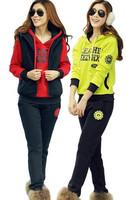 Korean Fashion Women Autumn Clothing Set Brand Design Letter Print Casual Sports Suit Female Thick Fleece Sweatshirt 3pcs Suit