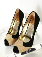 Peep Toe Heels Platform Flock Glitter Sweet 2014 New Autumn Retro Party Pumps Female Shoes Australia Customize