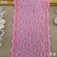 Free shipping! 201408 Limited Quantity, 15cm DIY accessories lace pink Stretch lace spot wholesale