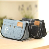 Freee shipping  Stationery pouch cute denim shortsshape pencil bag large capacity canvas Pencil bag