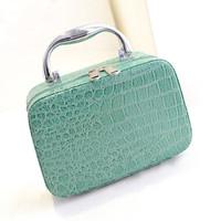 Fashion Women Blue Shoulder Make Up Bag Top Quality PU leather Crocodile Pattern Cosmetic Bag Hard Makeup Case Organizer