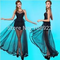 ALK3003 Free Shipping women's 2014 sexy gauze Long Chiffon one-piece dress  Adult Perspectivityelegant evening dresses low cut