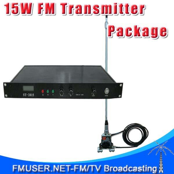 New 15w FM transmitter ST-2815 Power Adjustable 2w/8w/15w Wireles Microphone+CA100-C Car Clip Antenna KIT(China (Mainland))