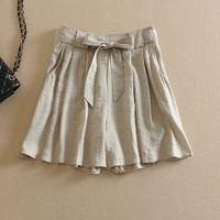 Women's fashion lacing pure linen culottes breathable linen skorts