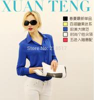 Free Shipping Brand New Women's blouse V-neck chiffon shirt loose, casual clothing long-sleeve shirt female large size F-0254