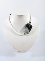 Black Agate Ingot with Seashell beads