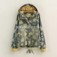 Mori Girl Lolita Style Notched Lapel Hooded Denim Jeans Women Blazer Jacket Winter Jaquetas Jeans E Casacos Femininos