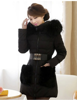 Winter fox fur coat  Female models in the long section hooded fur collar down jacket  Ms. Slim Jacket