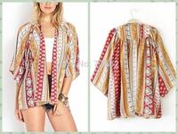 2015 New Fashion Women's Vintage Flower Paisley Print Chiffon Blouse Shirt Women Loose Chiffon Kimono Cardigan