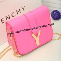100pcs/lot Summer fashion women candy color bag Y metal chain mini inclined shoulder bag hot messenger bag free shipping