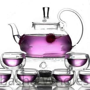 1 heat resistant glass teapot 600ML+6 double wall tea cups 50ML +glass heating device 8pcs/set(China (Mainland))