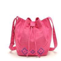 Women fashion cute cotton canvas bucket bag with diamond decoration casual lovely handbags messenger bag with drawstring