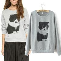 women sweatershirts long womens jogging suits Promotion pullovers casual sweatershirt woman sport suit cute Cat long sweatshirts