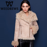 Women Fashion Winter Genuine Sheepskin Shearling Coat Double-Faced Fur & Leather Real Lamb Fur-Lined Jacket With Lamb Fur Collar