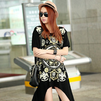 2014 personality irregular loose medium-long plus size T-shirt short-sleeve big size female shirt