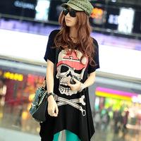 2014 plus size clothing personality loose short-sleeve  medium-long female T-shirt