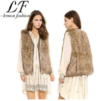 2014 New Winter Fashion Women Slim Fur Vest Coat with PU Leather Edge and Wrap Front Brown