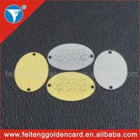 Shiny Fashion Metal Hanging Handbag Label Oval Engraving Logo Metal Handbag Tag with Holes