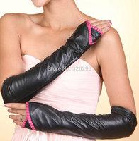 Fashion New sexy Black Long Half-finger Genuine Lamb Leather Gloves