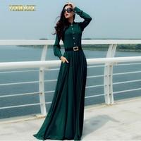 2014 New fashion women long dress vintage stand collar chiffon maxi dress long sleeve plus size slim waist dress to the floor