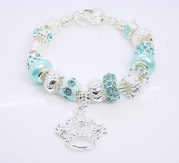 Оптовая продажа 925 серебряные ювелирные изделия браслет браслет. Ясно кристалл бусины ...