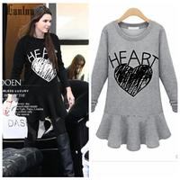 Lanluu New Popular 2014 Winter Wear O-Neck Letter Casual Women Cotton Sweater Dress NM392