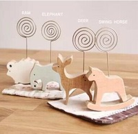 Hot discount spiral wire photo holder natural wood base name card note clip 20pcs/lot