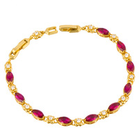 Wholesale Deluxe 24K Gold Plated Simulated Ruby & Cubic Zirconia Women's Bracelet Nickel Lead Free,14C0470
