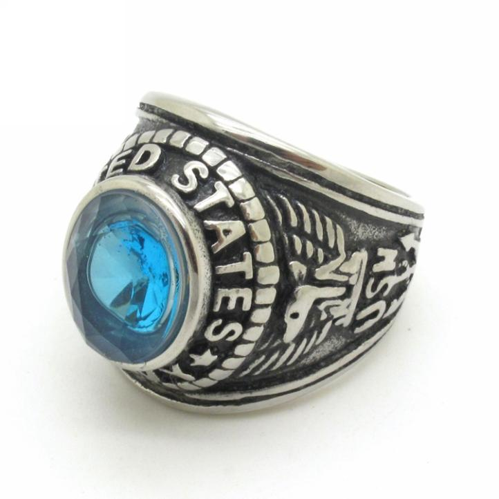 New USA Style 316L Stainless Steel Silver Charming Blue Crystal Cocktail Party Band Ring New Arrival Jewelry(China (Mainland))