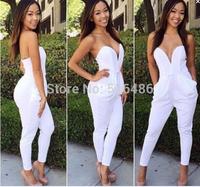 New Fashion Rompers Womens Jumpsuit Sexy White/Black Playsuit Club Bodysuits Elegant Sleeveless Bandage Jumpsuits Brand New