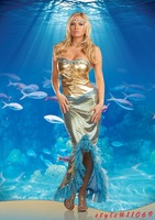 Fancy Cress Sexy Adult Golden Mermaid Tail  Costumes  Carnival Outfit  Fantasia  Halloween  Cosplay Costumes  For Adult  Women